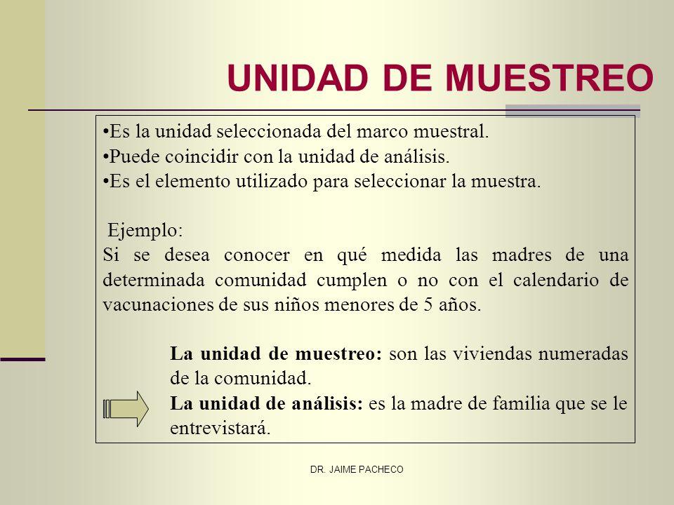 UNIDAD DE MUESTREO Es la unidad seleccionada del marco muestral.