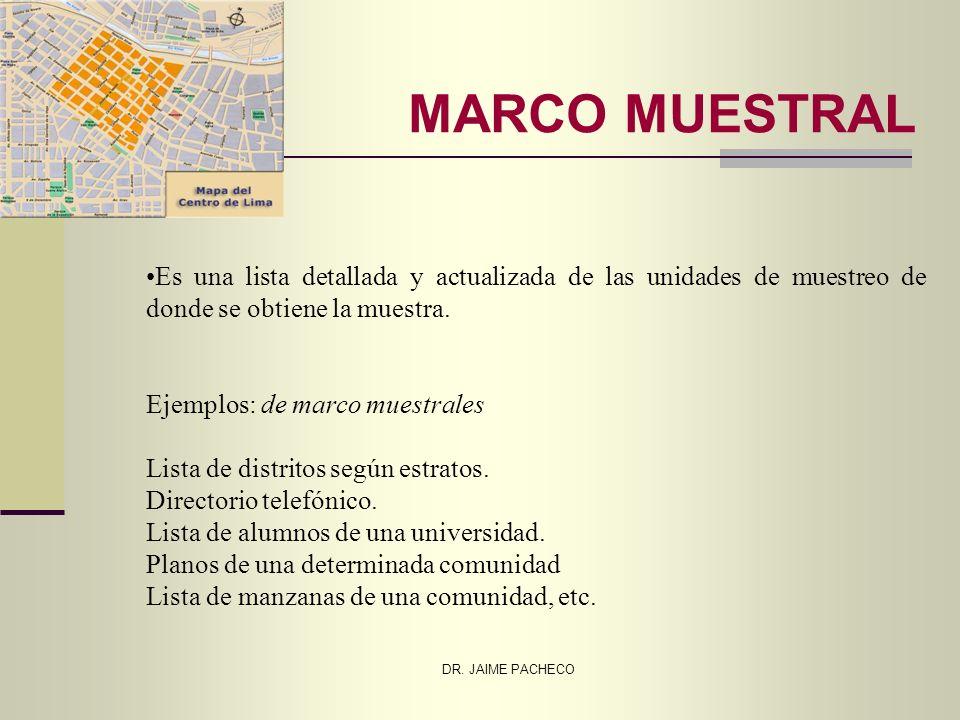 MARCO MUESTRAL Es una lista detallada y actualizada de las unidades de muestreo de donde se obtiene la muestra.