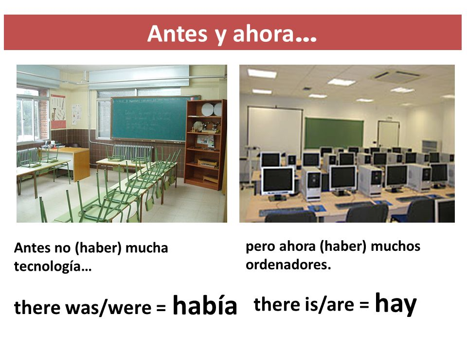 hay había Antes y ahora… there is/are = there was/were =