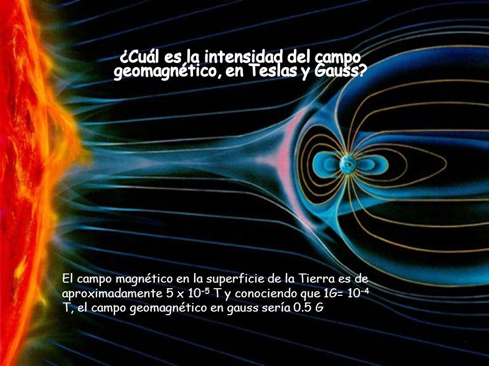 ¿Cuál es la intensidad del campo geomagnético, en Teslas y Gauss