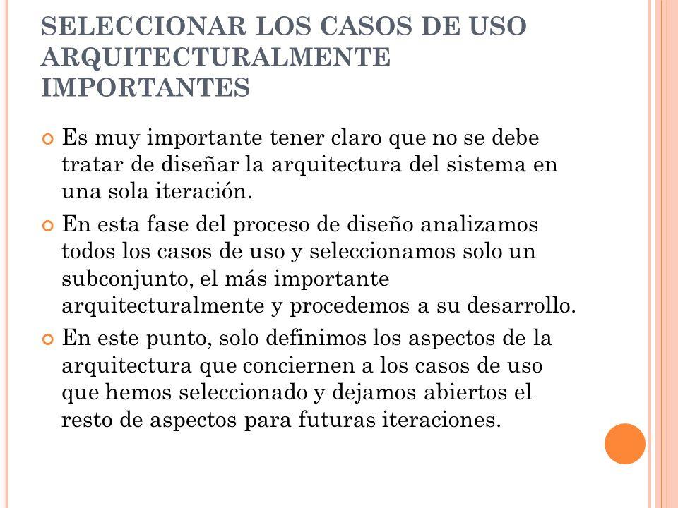 SELECCIONAR LOS CASOS DE USO ARQUITECTURALMENTE IMPORTANTES