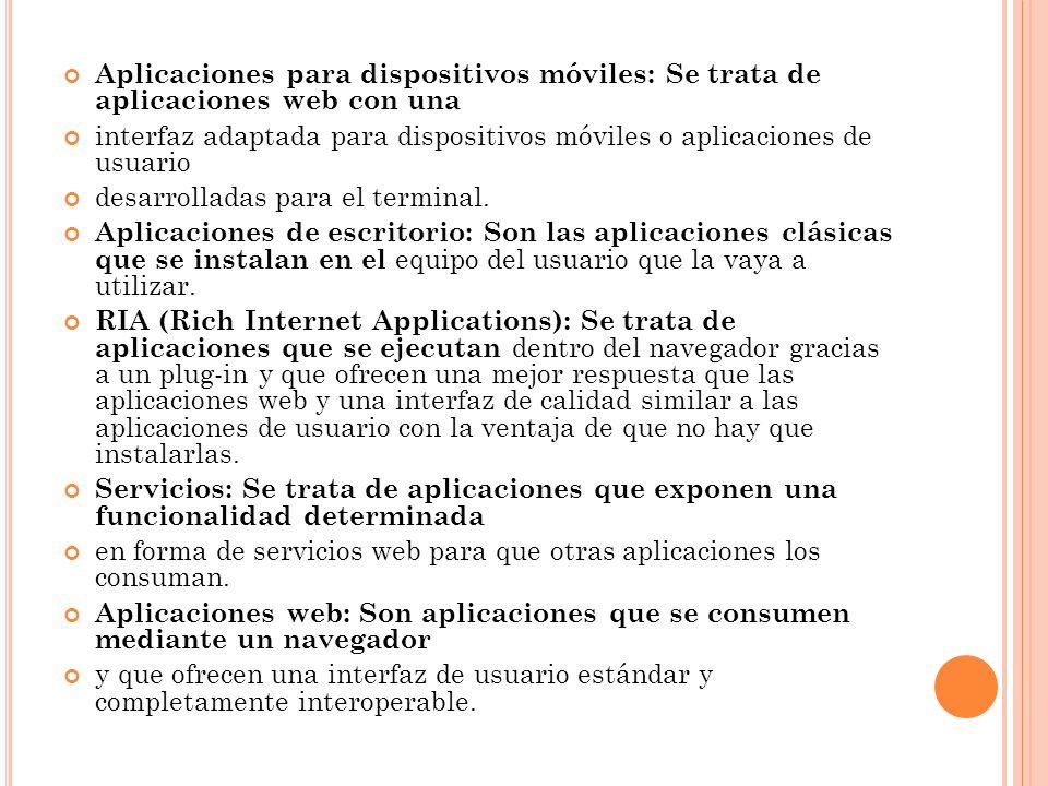 Aplicaciones para dispositivos móviles: Se trata de aplicaciones web con una