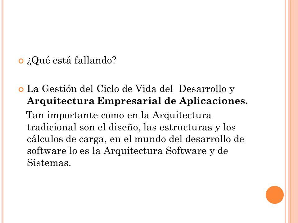 ¿Qué está fallando La Gestión del Ciclo de Vida del Desarrollo y Arquitectura Empresarial de Aplicaciones.
