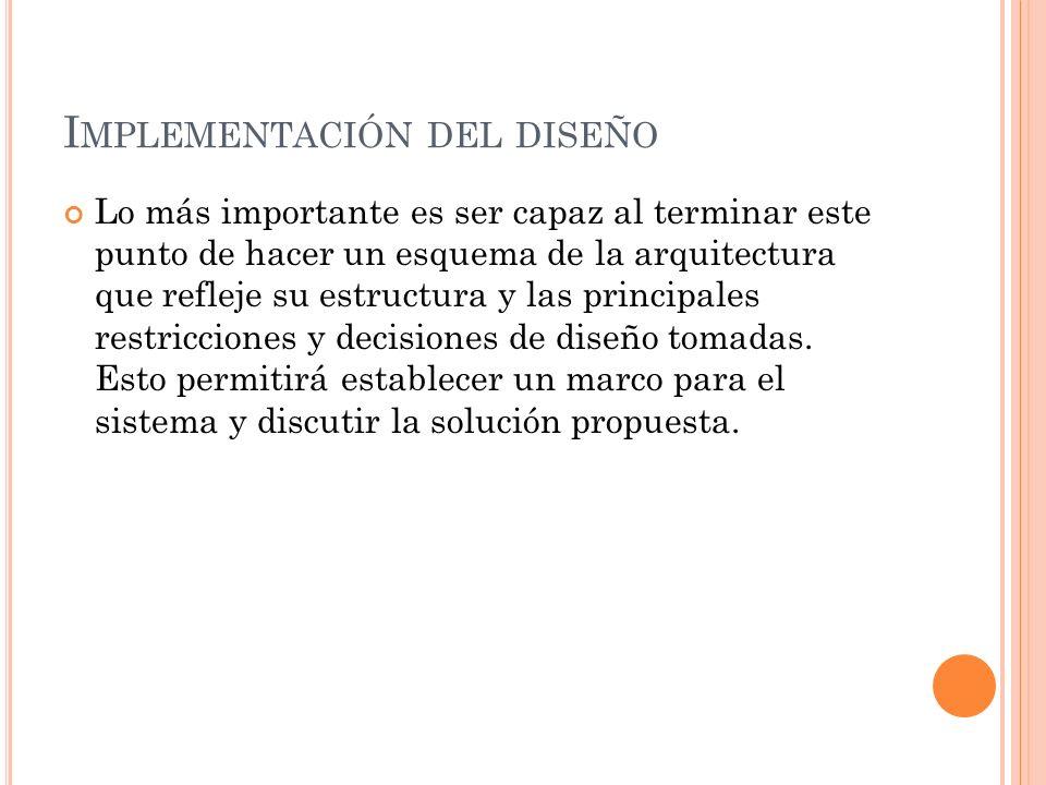 Implementación del diseño