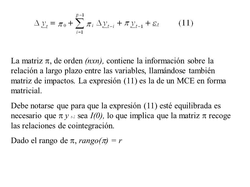 La matriz , de orden (nxn), contiene la información sobre la relación a largo plazo entre las variables, llamándose también matriz de impactos. La expresión (11) es la de un MCE en forma matricial.