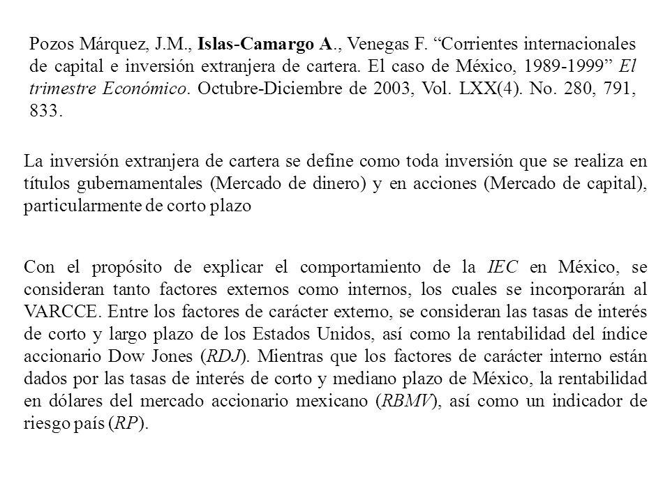 Pozos Márquez, J. M. , Islas-Camargo A. , Venegas F