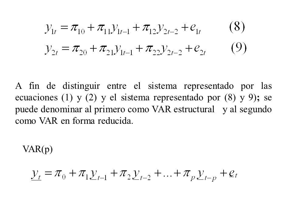 A fin de distinguir entre el sistema representado por las ecuaciones (1) y (2) y el sistema representado por (8) y 9); se puede denominar al primero como VAR estructural y al segundo como VAR en forma reducida.