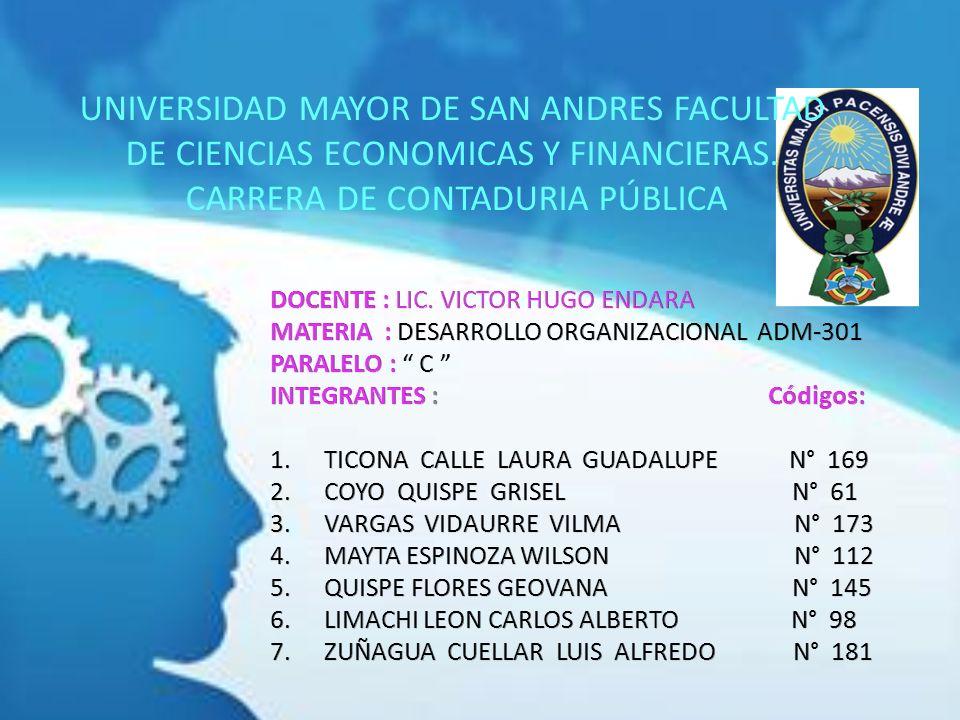 UNIVERSIDAD MAYOR DE SAN ANDRES FACULTAD DE CIENCIAS ECONOMICAS Y FINANCIERAS. CARRERA DE CONTADURIA PÚBLICA