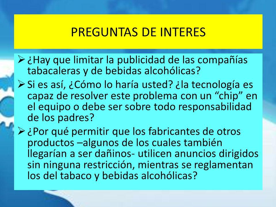 PREGUNTAS DE INTERES ¿Hay que limitar la publicidad de las compañías tabacaleras y de bebidas alcohólicas
