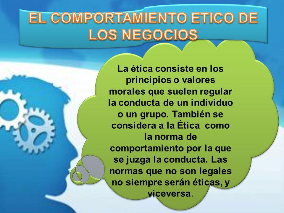 EL COMPORTAMIENTO ETICO DE LOS NEGOCIOS