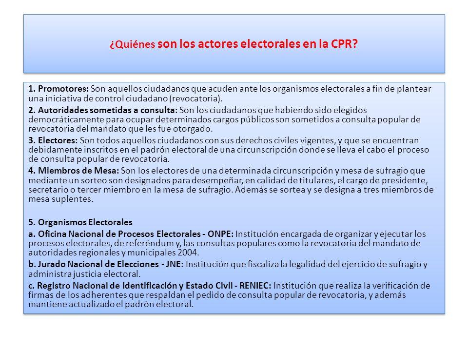 ¿Quiénes son los actores electorales en la CPR