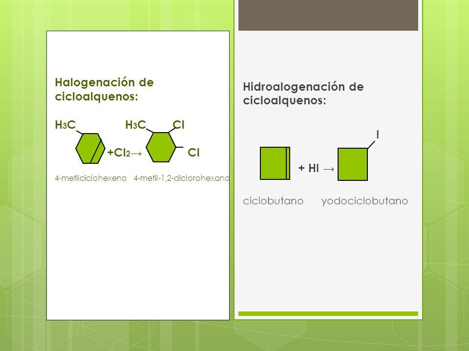 Hidroalogenación de cicloalquenos: