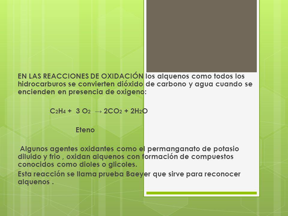 EN LAS REACCIONES DE OXIDACIÓN los alquenos como todos los hidrocarburos se convierten dióxido de carbono y agua cuando se encienden en presencia de oxigeno: