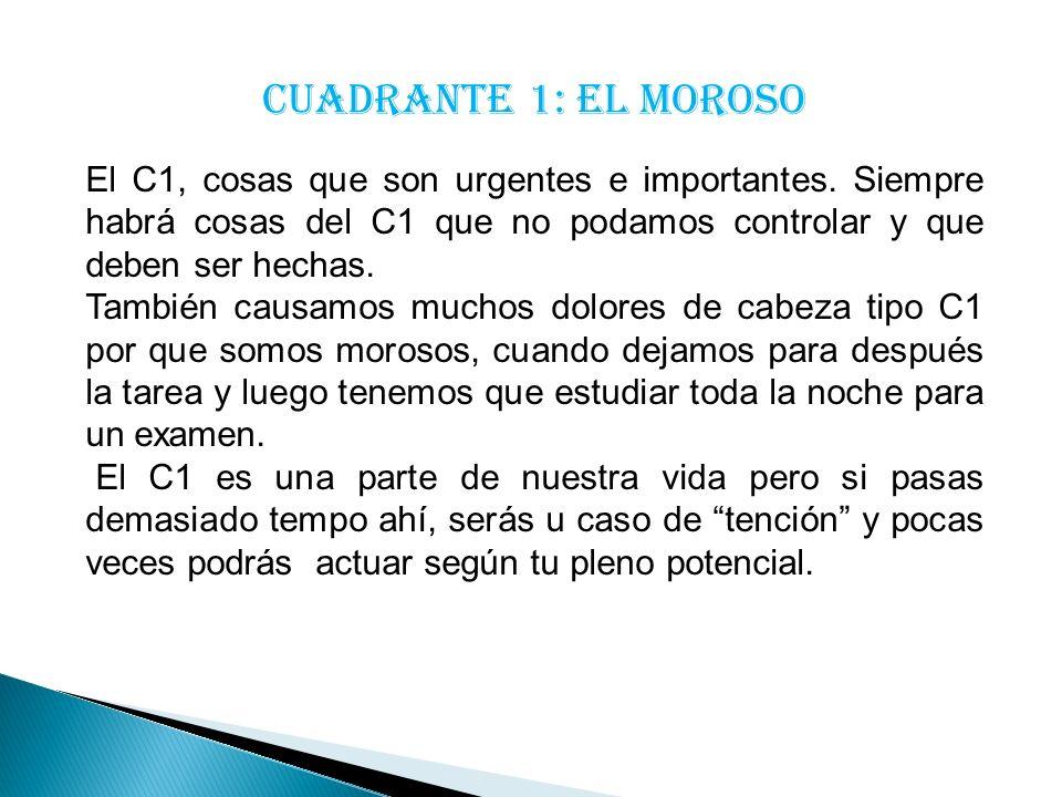 Cuadrante 1: El moroso El C1, cosas que son urgentes e importantes. Siempre habrá cosas del C1 que no podamos controlar y que deben ser hechas.