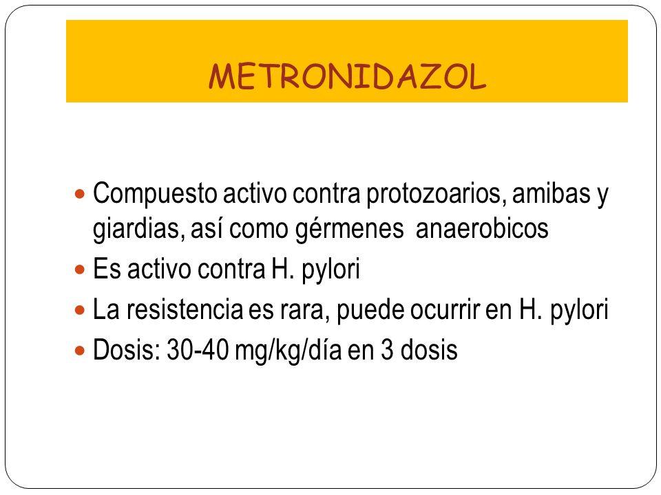 METRONIDAZOL Compuesto activo contra protozoarios, amibas y giardias, así como gérmenes anaerobicos.