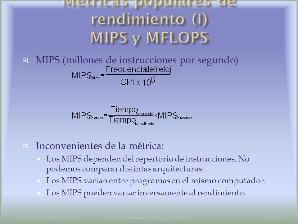 Métricas populares de rendimiento (I) MIPS y MFLOPS