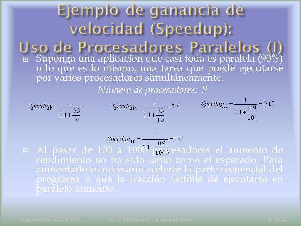 Ejemplo de ganancia de velocidad (Speedup): Uso de Procesadores Paralelos (I)