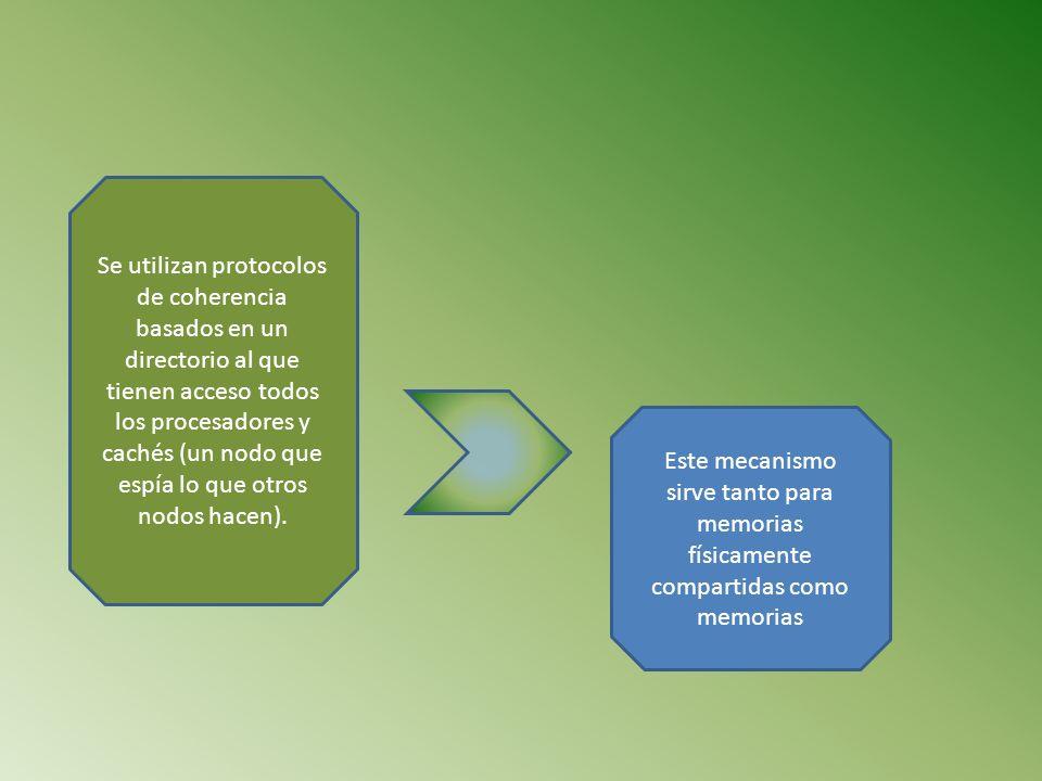 Se utilizan protocolos de coherencia basados en un directorio al que tienen acceso todos los procesadores y cachés (un nodo que espía lo que otros nodos hacen).
