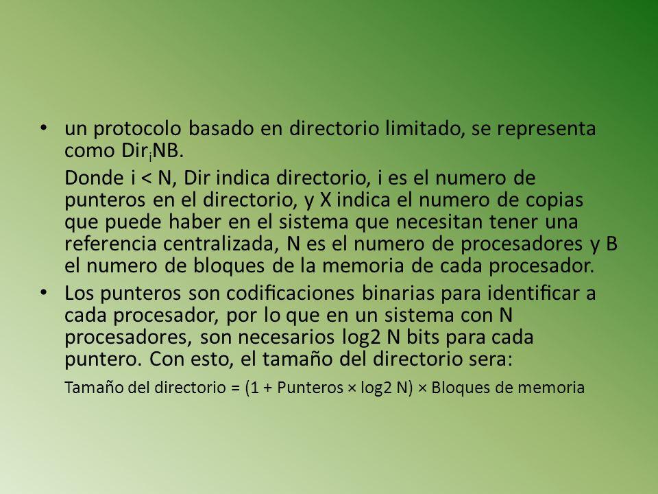un protocolo basado en directorio limitado, se representa como DiriNB.