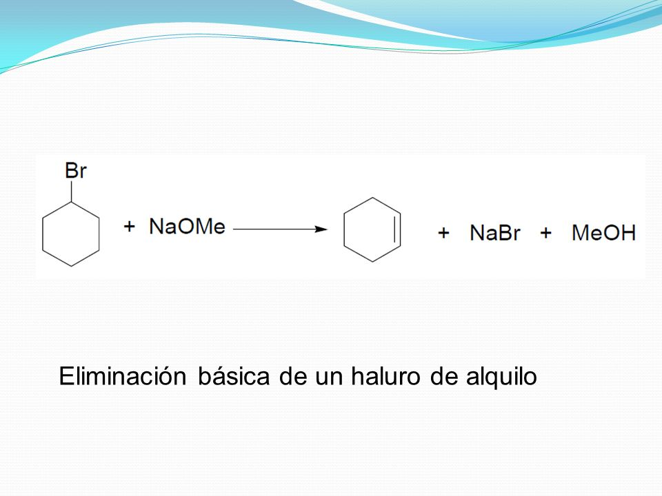 Eliminación básica de un haluro de alquilo