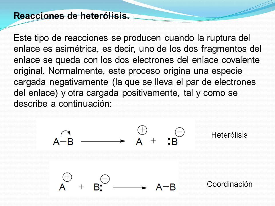 Reacciones de heterólisis.