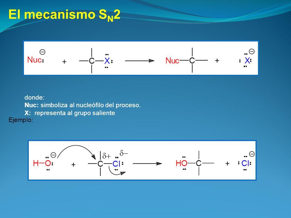 El mecanismo SN2 donde: Nuc: simboliza al nucleófilo del proceso.
