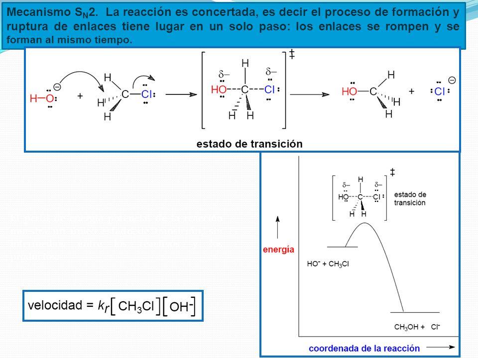 Mecanismo SN2. La reacción es concertada, es decir el proceso de formación y ruptura de enlaces tiene lugar en un solo paso: los enlaces se rompen y se forman al mismo tiempo.