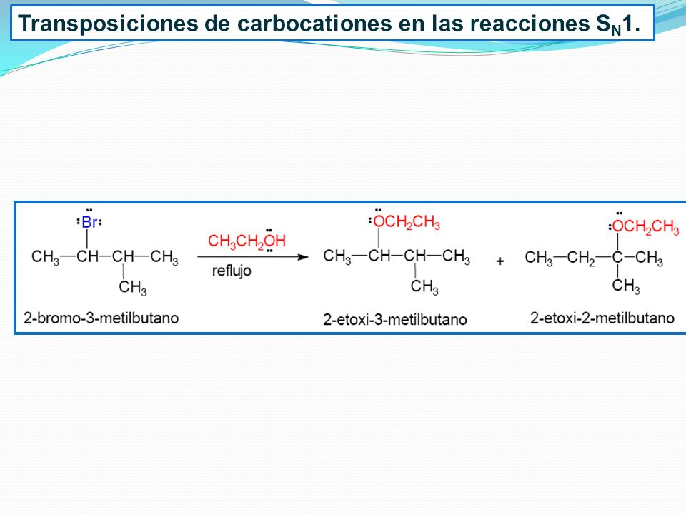 Transposiciones de carbocationes en las reacciones SN1.