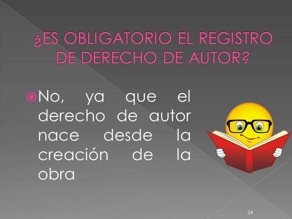 ¿ES OBLIGATORIO EL REGISTRO DE DERECHO DE AUTOR