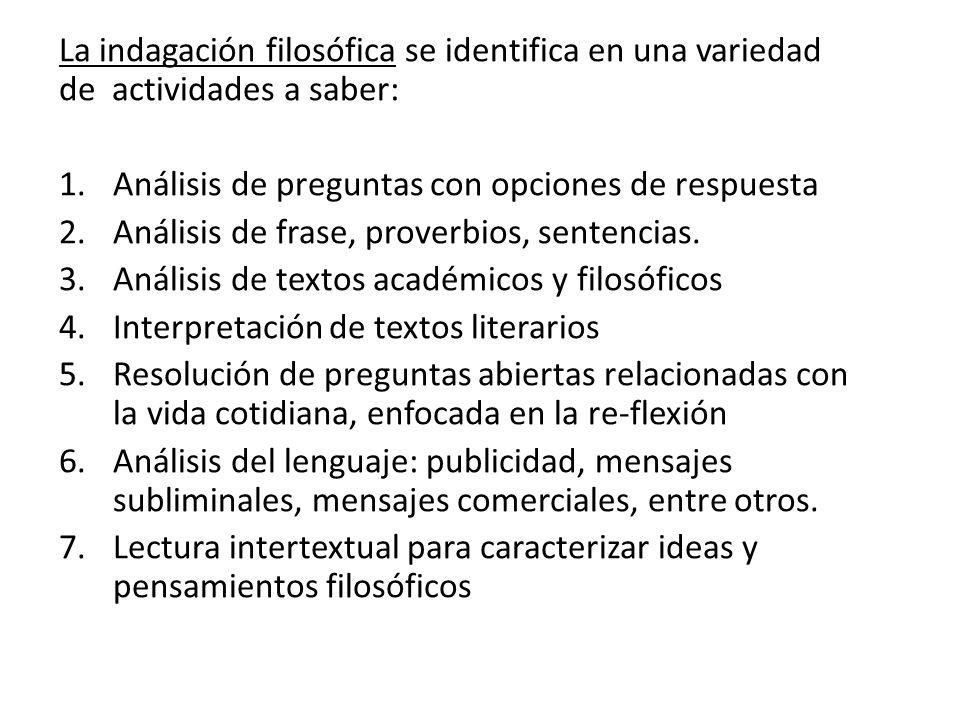 La indagación filosófica se identifica en una variedad de actividades a saber:
