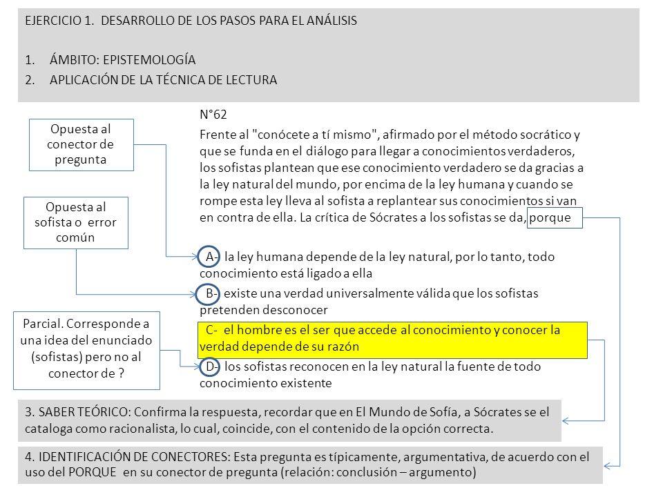 EJERCICIO 1. DESARROLLO DE LOS PASOS PARA EL ANÁLISIS