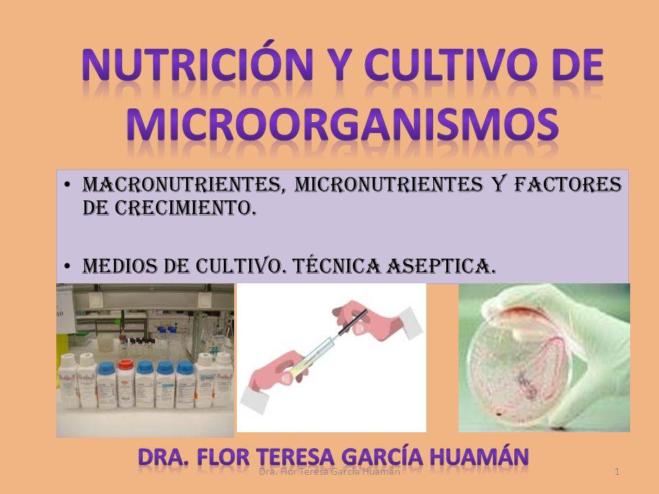 NUTRICIÓN Y CULTIVO DE MICROORGANISMOS Dra. Flor teresa garcía huamán