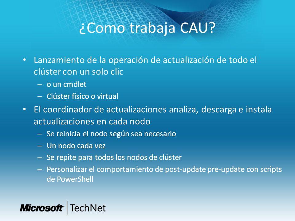 ¿Como trabaja CAU Lanzamiento de la operación de actualización de todo el clúster con un solo clic.