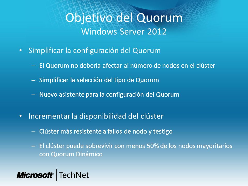 Objetivo del Quorum Windows Server 2012