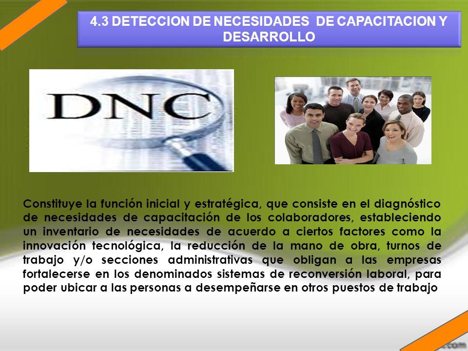 4.3 DETECCION DE NECESIDADES DE CAPACITACION Y DESARROLLO