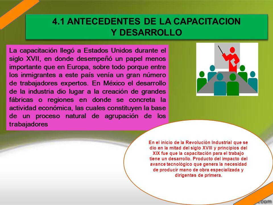 4.1 ANTECEDENTES DE LA CAPACITACION