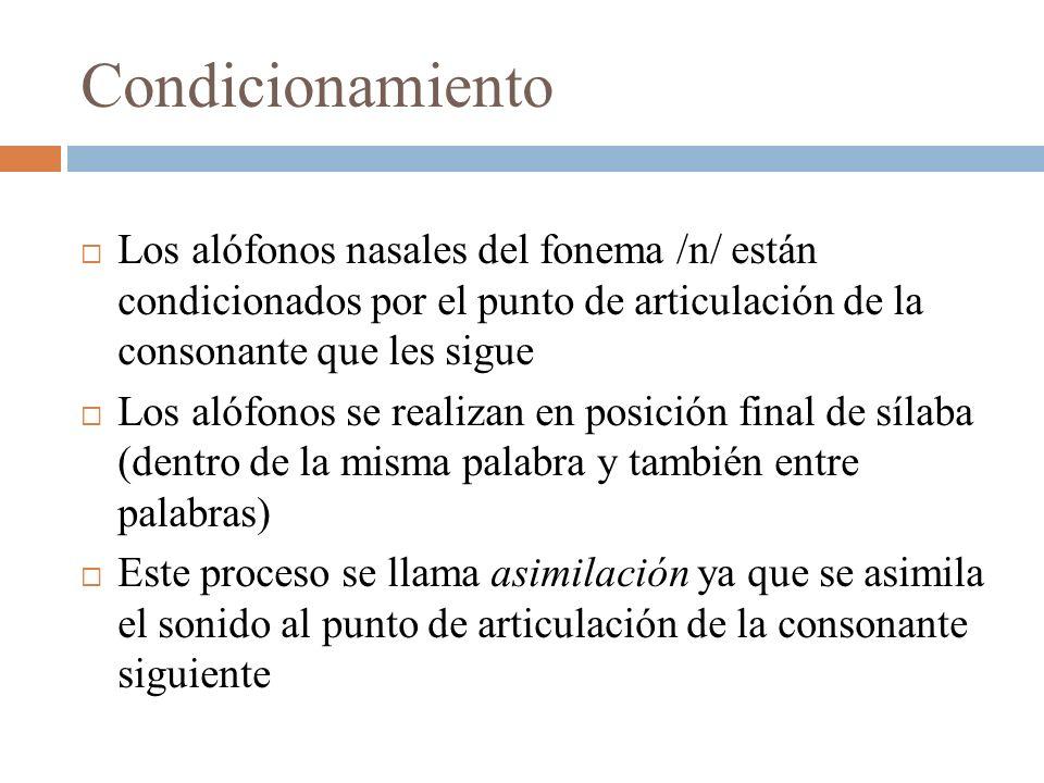CondicionamientoLos alófonos nasales del fonema /n/ están condicionados por el punto de articulación de la consonante que les sigue.