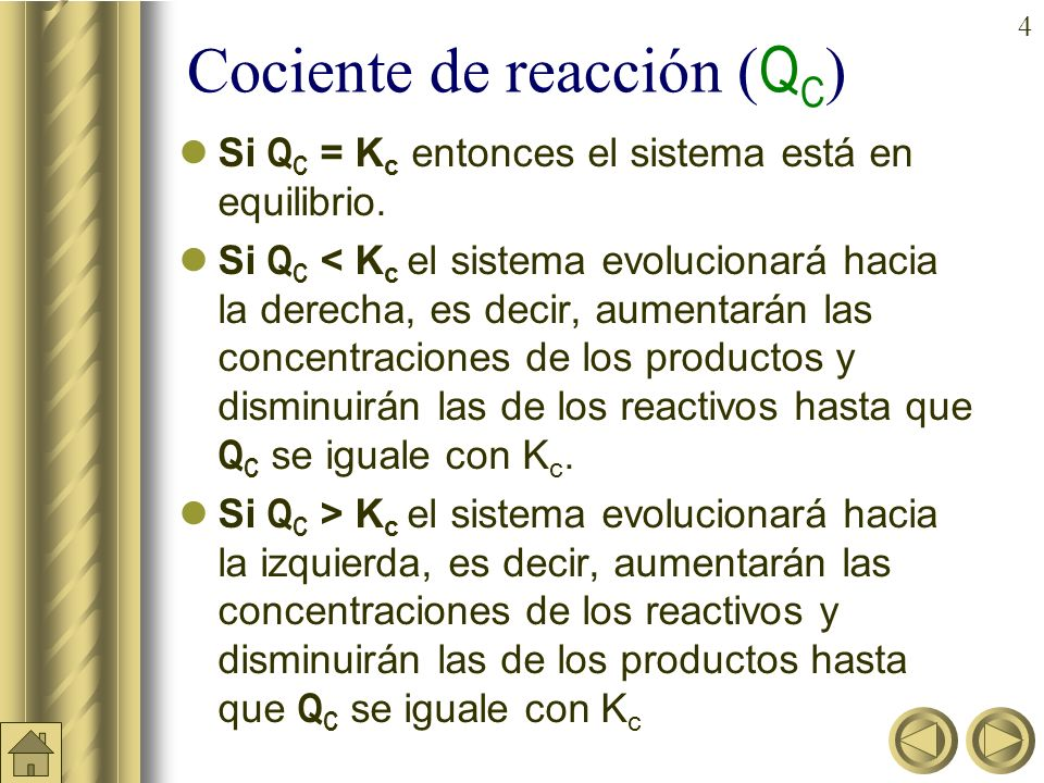 Cociente de reacción (QC)