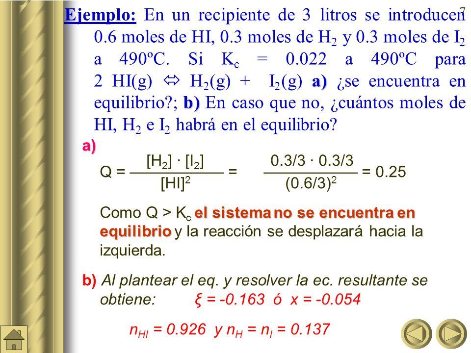 Ejemplo: En un recipiente de 3 litros se introducen 0.6 moles de HI, 0.3 moles de H2 y 0.3 moles de I2 a 490ºC. Si Kc = 0.022 a 490ºC para 2 HI(g)  H2(g) + I2(g) a) ¿se encuentra en equilibrio ; b) En caso que no, ¿cuántos moles de HI, H2 e I2 habrá en el equilibrio