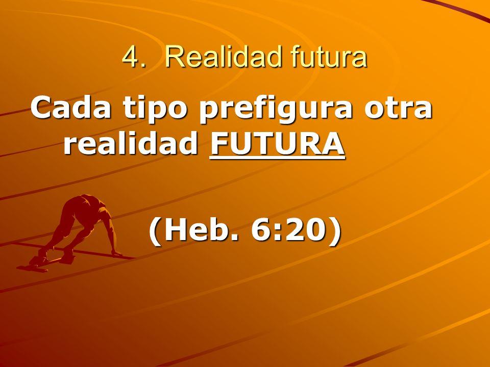4. Realidad futura Cada tipo prefigura otra realidad FUTURA (Heb. 6:20)