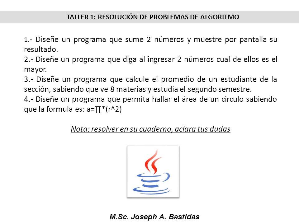 TALLER 1: RESOLUCIÓN DE PROBLEMAS DE ALGORITMO