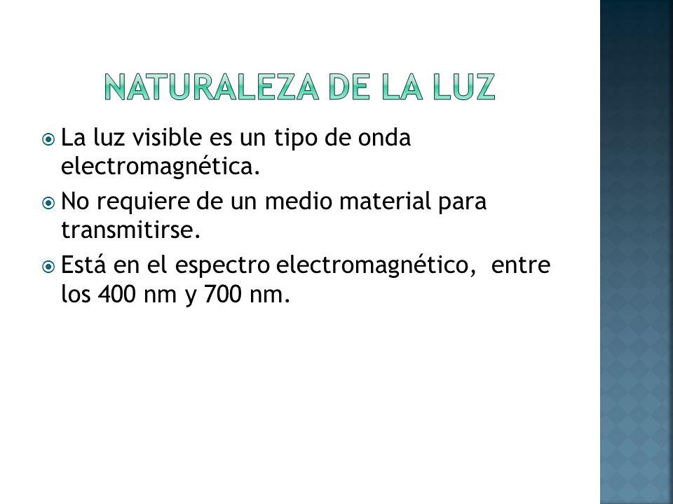 NATURALEZA DE LA LUZ La luz visible es un tipo de onda electromagnética. No requiere de un medio material para transmitirse.