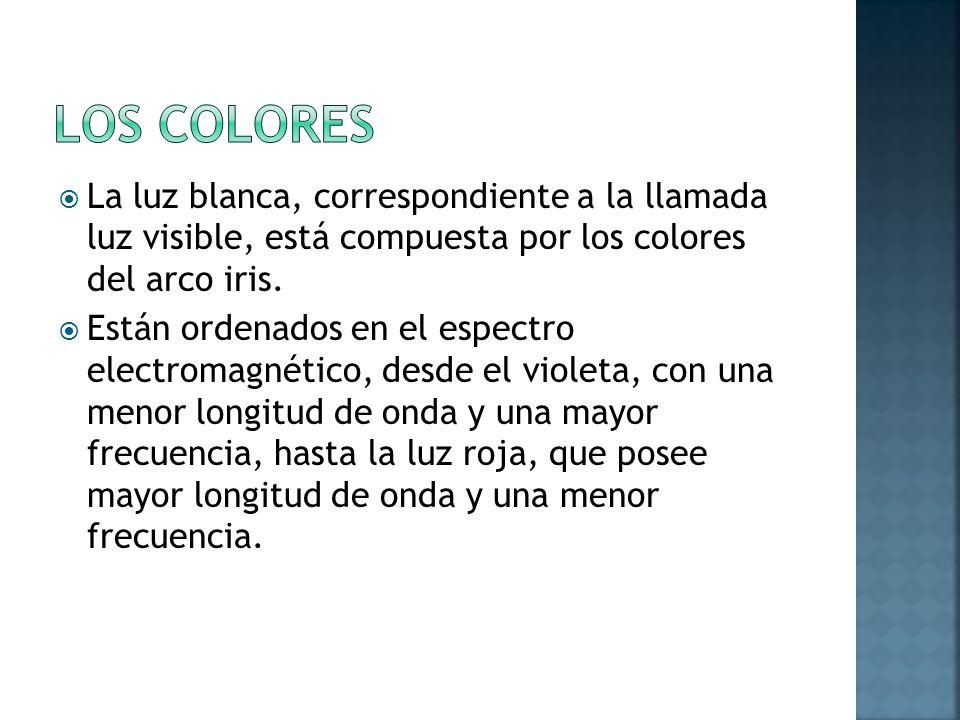 Los colores La luz blanca, correspondiente a la llamada luz visible, está compuesta por los colores del arco iris.