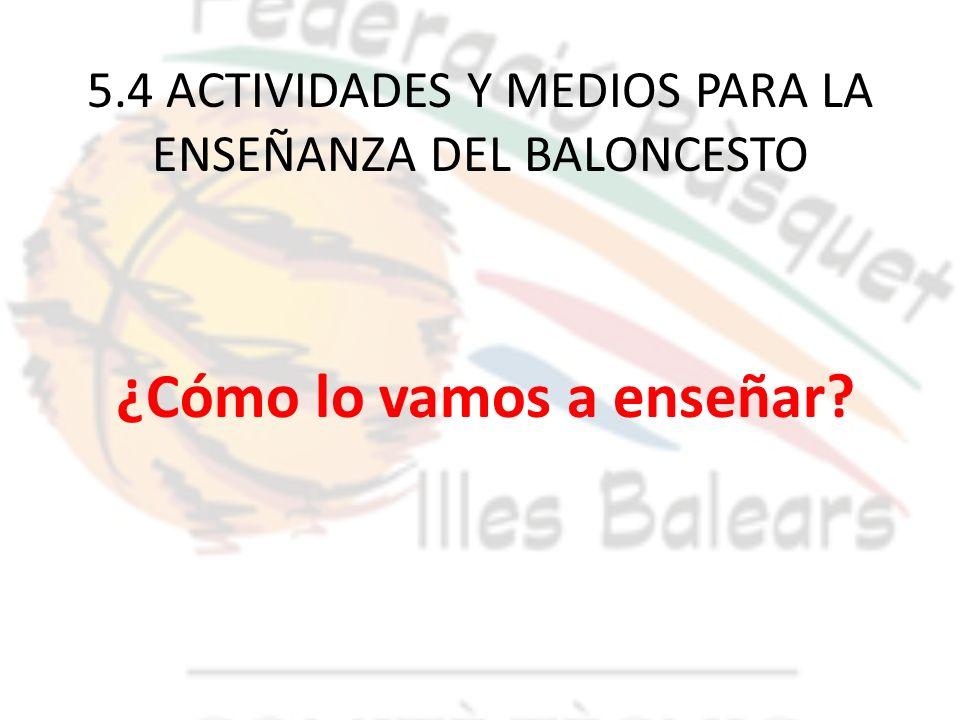 5.4 ACTIVIDADES Y MEDIOS PARA LA ENSEÑANZA DEL BALONCESTO