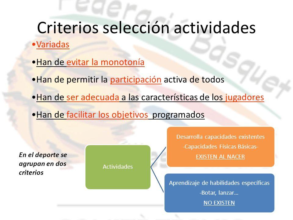 Criterios selección actividades