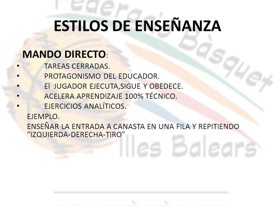 ESTILOS DE ENSEÑANZA MANDO DIRECTO: TAREAS CERRADAS.