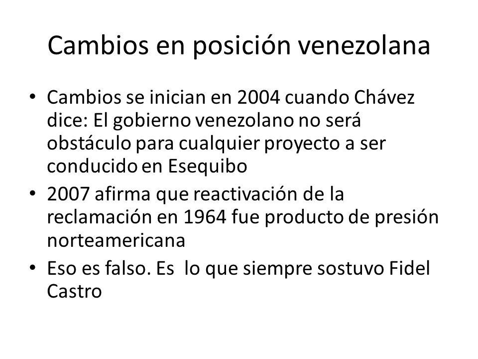 Cambios en posición venezolana