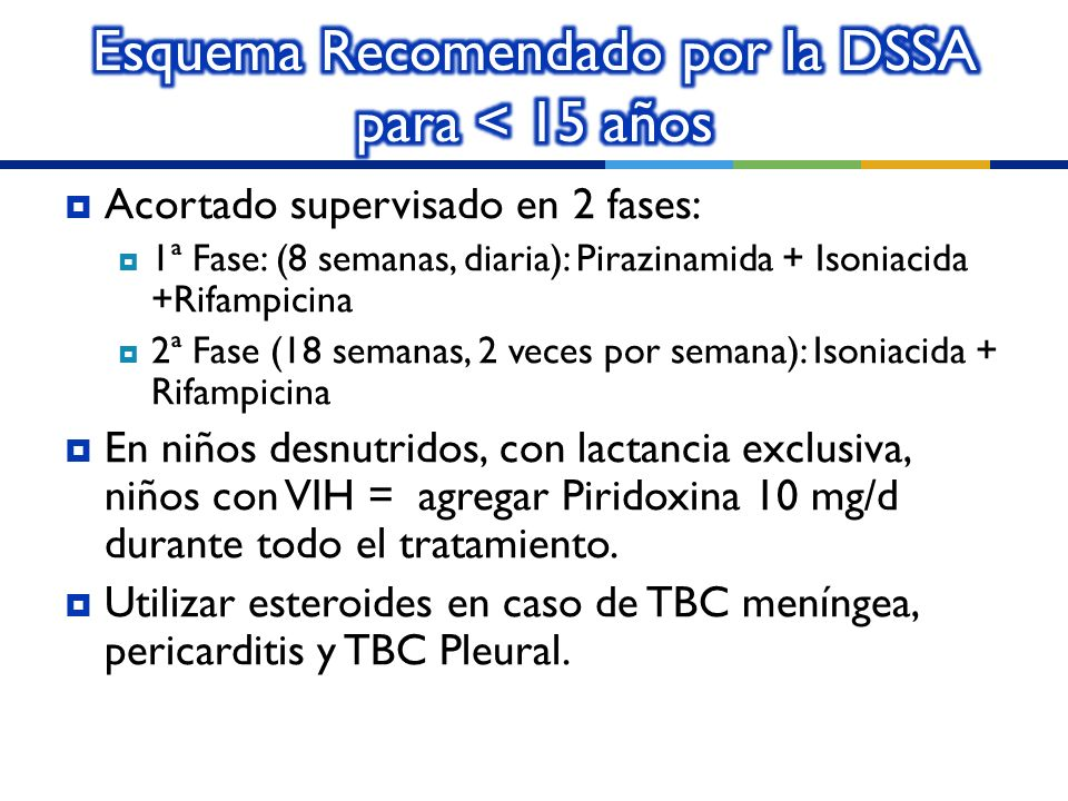 Esquema Recomendado por la DSSA para < 15 años