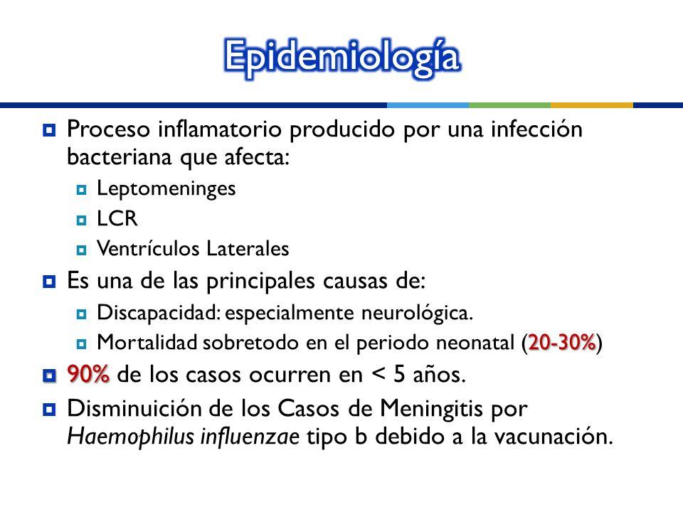 Epidemiología Proceso inflamatorio producido por una infección bacteriana que afecta: Leptomeninges.