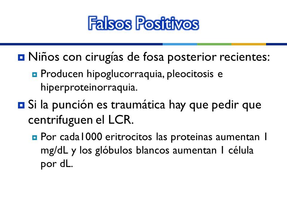 Falsos Positivos Niños con cirugías de fosa posterior recientes: